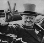 CC0XDG British wartime leader Winston Churchill with his famous V for victory sign. Image from the archives of Press Portrait Service (formerly Press Portait Bureau) 1946 image. Image shot 1946. Exact date unknown.